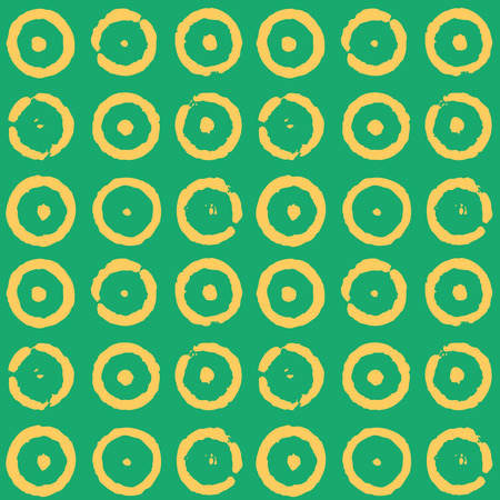 Yellow hand painted circles on green  Vector repeat pattern