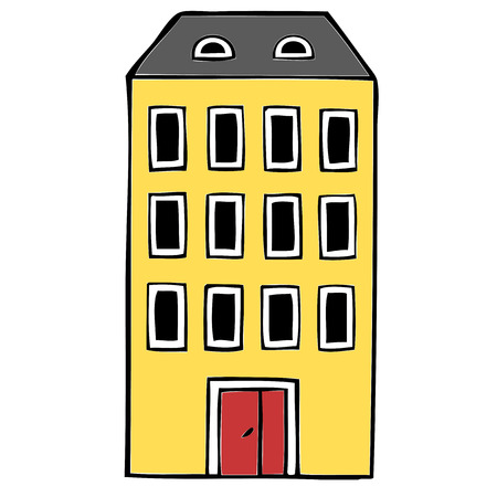 apartment block: Hand drawn apartment block illustration Illustration