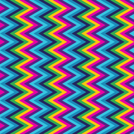90s: Colorful zig zag pattern Illustration