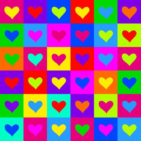 acid colors: Pop art hearts pattern