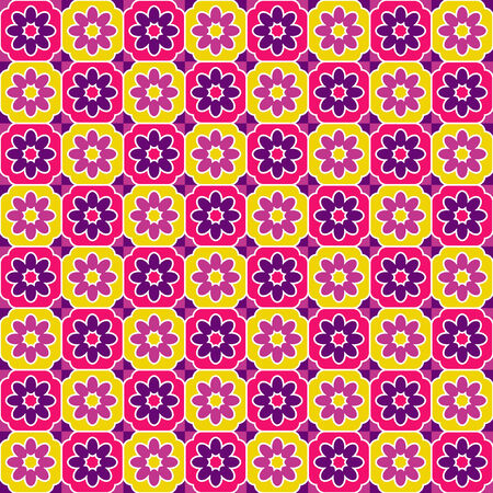 Pink and yellow tiles pattern Illustration