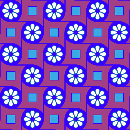 Purple geometric flowers pattern Vector