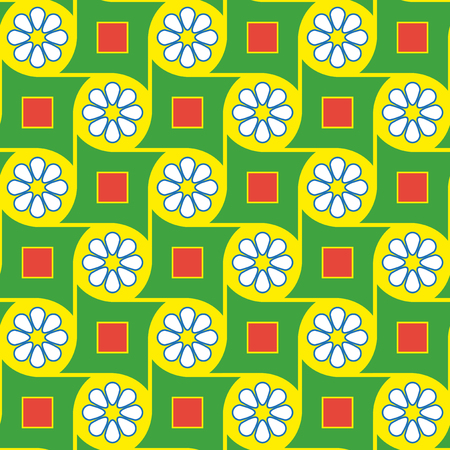 Green geometric flowers pattern Vector