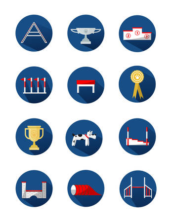 Dog agility equipment icons.