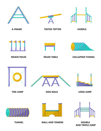 Dog agility equipment. Flat icons collection. Illustration