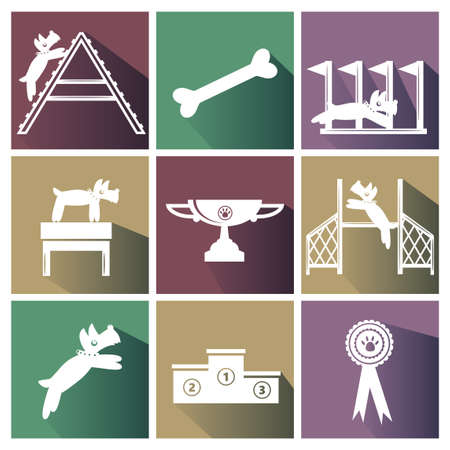 obstacle course: Set of dog agility icons. Illustration