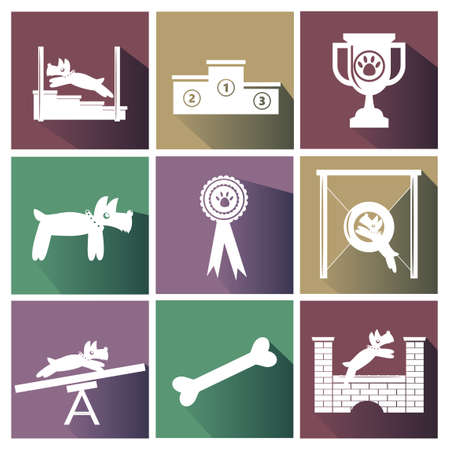 obstacle course: Set of dog agility competition icons