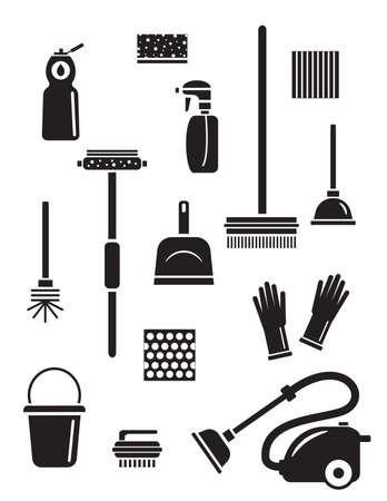 Ensemble d'icônes de service de nettoyage. Silhouettes noires isolées. Illustration de différents outils de nettoyage et articles ménagers.