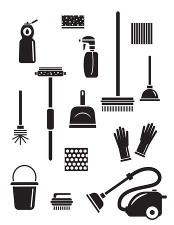 Set of cleaning service icons. Isolated black silhouettes. Illustration of different cleaning tools and household goods. Иллюстрация
