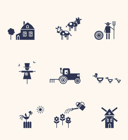 Farm and agriculture life icons. Silhouettes.