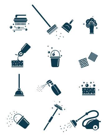 Cleaning tools icons set. Vektorgrafik
