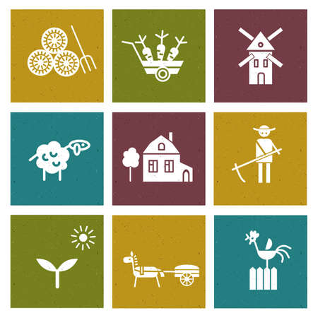Farm and agriculture icons set,