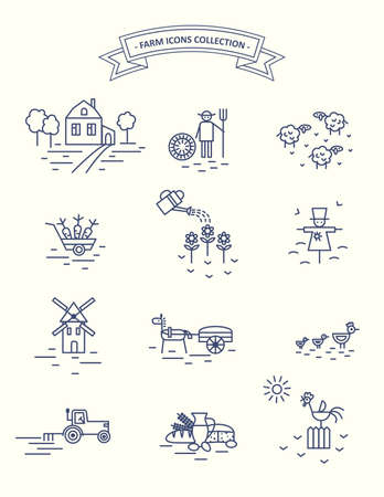 Farm and agriculture life icons set. 일러스트