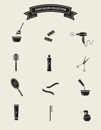 Hair salon tools. Black silhouette icons collection.