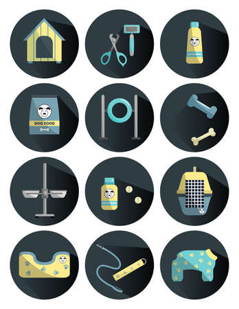 Dog care icons with long shadows. Different dog supplies. Elements for pet store
