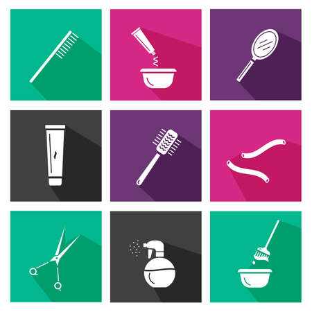 Hair salon tools. Square icons. Design for beauty, hair salon