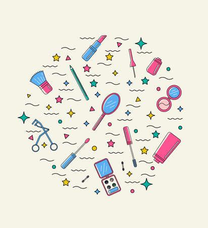 Make up illustration. Flat line style. Ilustração
