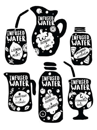 Infused water hand drawn set. Vector illustration of glasses with fruits drinks and lettering. Concept for smoothie bar menu, organic labels.