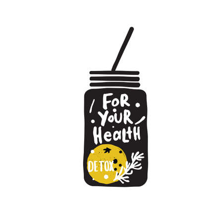 Hend lettering with illustration of jar with orange and rosemary. Ideal for smoothie bar, healthy food cafe promotion. Ilustração