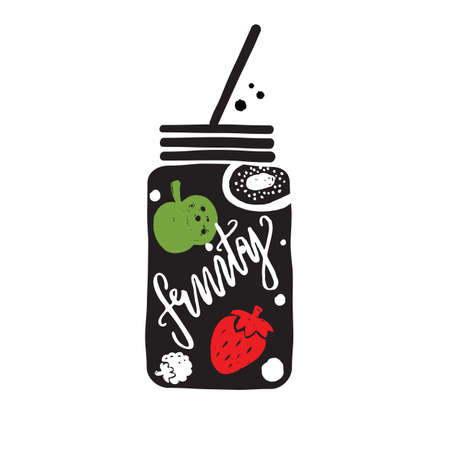 Typography poster. Lettering quote. Hand drawn vector illustration. Black silhouette of glass with fruits, berries and lettering inscription Fruity.