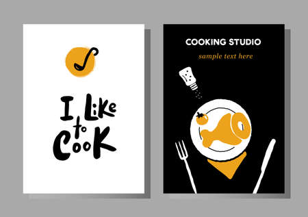Set of posters for cooking masterclasses, food studio.