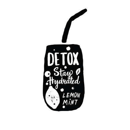 Detox water. Hand drawn vector illustration. Black silhouette of glass with lemon, mint and lettering inscription Stay hydrated.