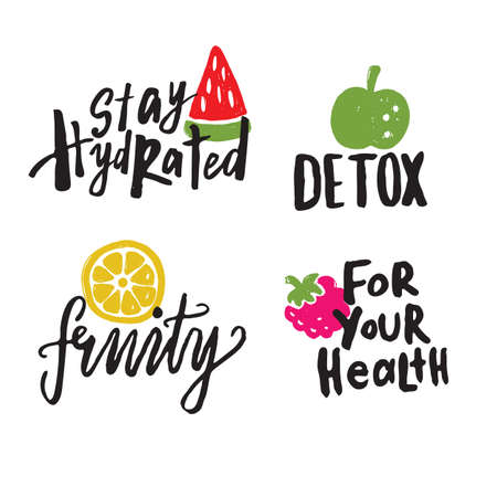 Set of hand drawn illustrations and lettering . Illustrations of watermelon, orange, raspberry, apple with different phrases about healthy food.