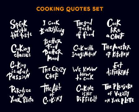 Ensemble de citations et de phrases écrites à la main sur la cuisine. Concept pour cours de cuisine, cours, cours, studio de restauration, café, restaurant.