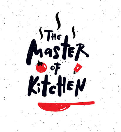 The master of kitchen. Hand written lettering banner. Design concept for cooking classes, courses, food studio, cafe, restaurant.