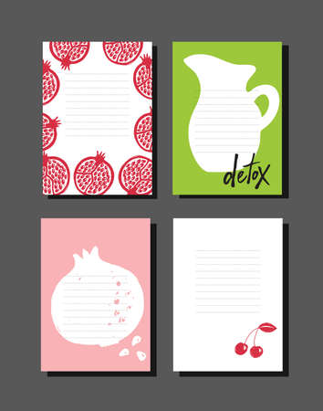 Set of cooking notes with hand drawn illustration of pomegranate and jug. Healthy lifestyle.