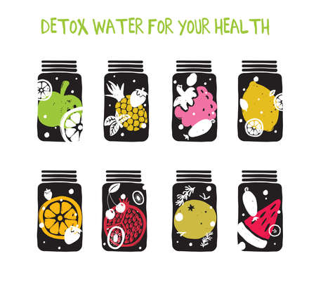 Set of hand drawn jars and glasses with illustrations of fruits. Infused water. Infused water. Concept for smoothie bar menu, organic labels.