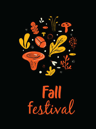 Fall festival poster. Poster, banner, card template. Illustration of mushrooms, herbs and bugs.