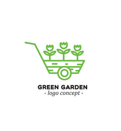 Cart with flowers. Green garden. . Logo concept for flower market.