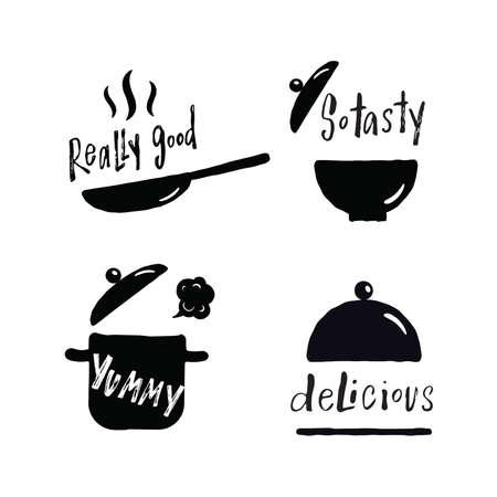 Ensemble de phrases de lettrage à la main sur les plats savoureux. Délicieux, vraiment bon, tellement savoureux, délicieux. Illustration des ustensiles de cuisine. Poêle à frire, poêle, assiette, plateau.