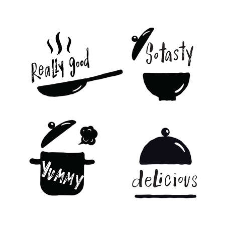 Set of hand lettering phrases about tasty food. Delisious, really good,so tasty, yummy. Illustration of cooking utensils. Frying pan, pan, plate, tray.