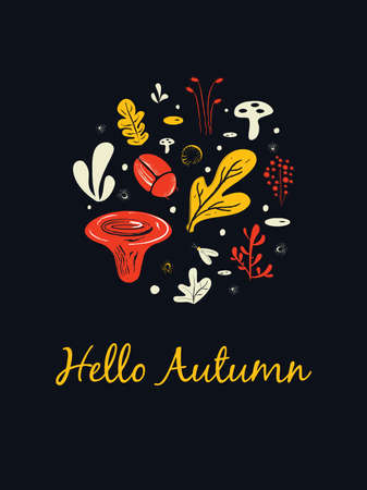 Hello autumn. Invitation card. Illustration of mushrooms, herbs and bugs.