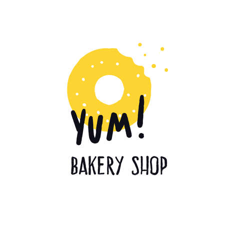 Bakery shop. Logo concept for bakery. Vector illustration of donats. Prase Yum.