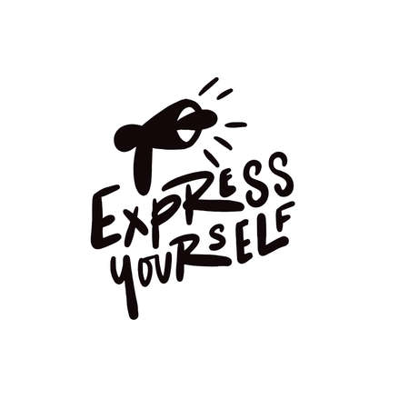 Express yourself. Hand written lettering. Vector design. Illustration of speaking trumpet.