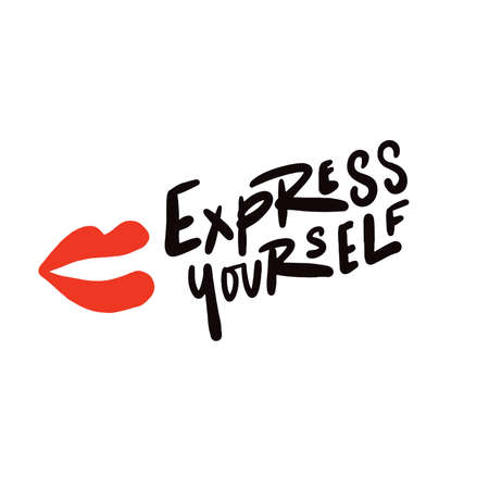 Express yourself. Hand written lettering. Vector design.
