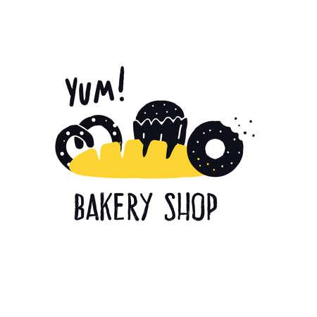 Bakery shop. Vector illustration of donut, cake, pretzel, loaf.