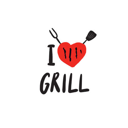 I love grill. Funny hand drawn lettering and illustration of heart, fork and paddle. Vector design.