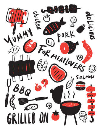 Grilled food. Hand drawn illustration of grilled meat, steak etc. Hand written lettering. Grill restaurant menu design template.