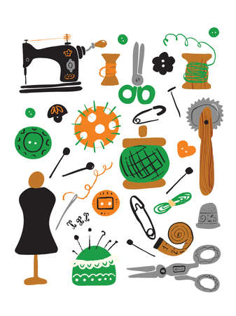 Set of hand drawn sewing supplies made in vector. Isolated on white.  イラスト・ベクター素材