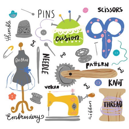 Set of different hand drawn sewing tools with lettering. Scissors, ribbon, buttons, needle, thread, mannequin pins sewing machine Vector Illustration