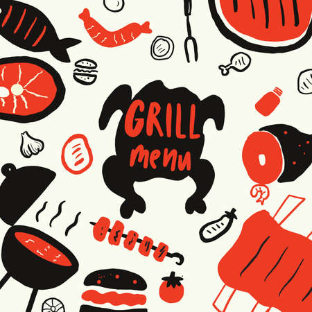 Grill meny. Funny hand drawn elements for grill, barbeque, steak restaurant . Isolated on white background, made in vector.