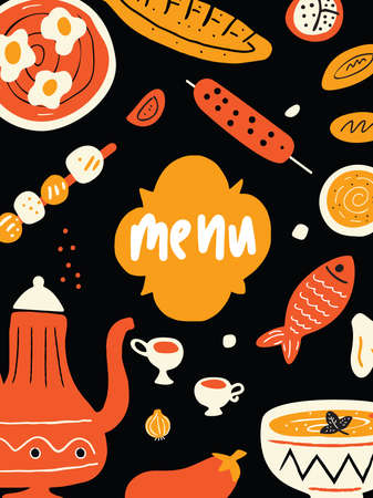 Funny hand drawn menu template with illustration of traditional middle eastern food. Black background. Vector.