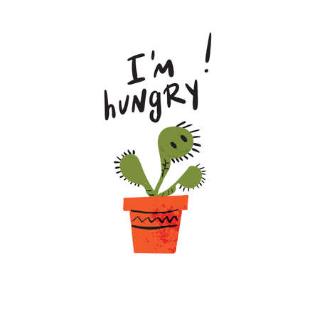 I am hungry. Hand lettering inscription and illustration of carnivorous plant with baby face. Vector design White background.