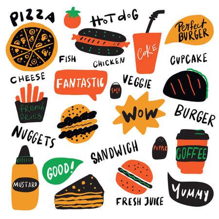 Divertente illustrazione di diversi elementi di fast food con scritte disegnate a mano. Vettore, isolato su sfondo bianco. Vettoriali