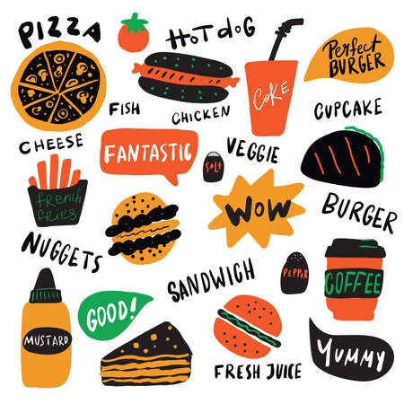 Funny illustration of different fast food elements with hand drawn lettering. Vector, isolated on white background.
