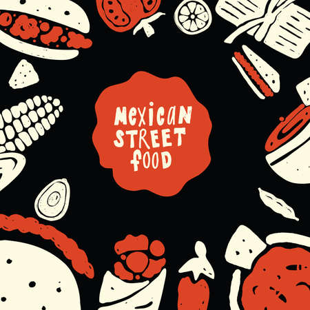 Mexican street food. Funny doodle illustration with food elements, made in vector. Menu template. Black background.